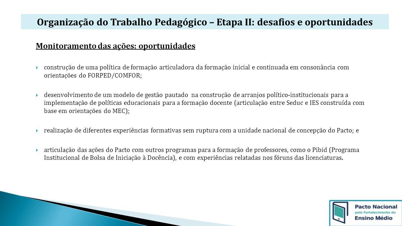 Organização do Trabalho Pedagógico – Etapa II: desafios e oportunidades Monitoramento das ações: oportunidades  construção de uma política de formaçã