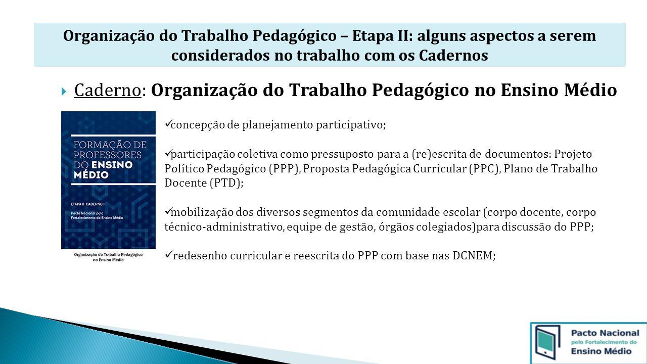 Organização do Trabalho Pedagógico – Etapa II: alguns aspectos a serem considerados no trabalho com os Cadernos  Caderno: Organização do Trabalho Ped