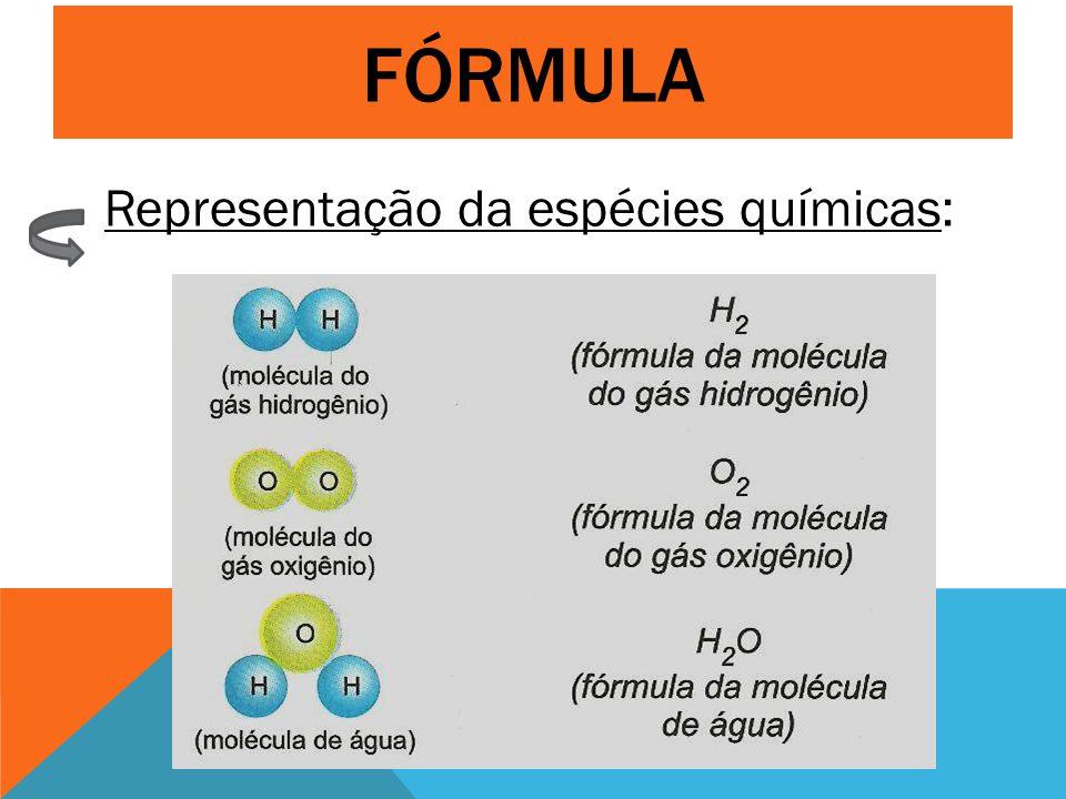 FÓRMULA Representação da espécies químicas: