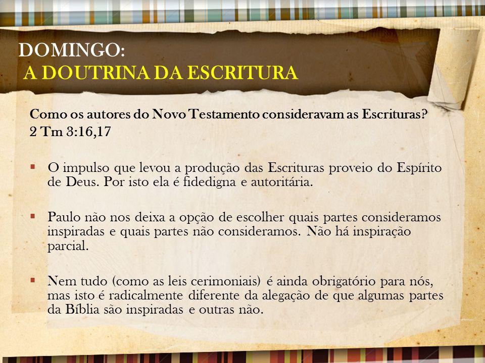 DOMINGO: A DOUTRINA DA ESCRITURA Como os autores do Novo Testamento consideravam as Escrituras? 2 Tm 3:16,17  O impulso que levou a produção das Escr