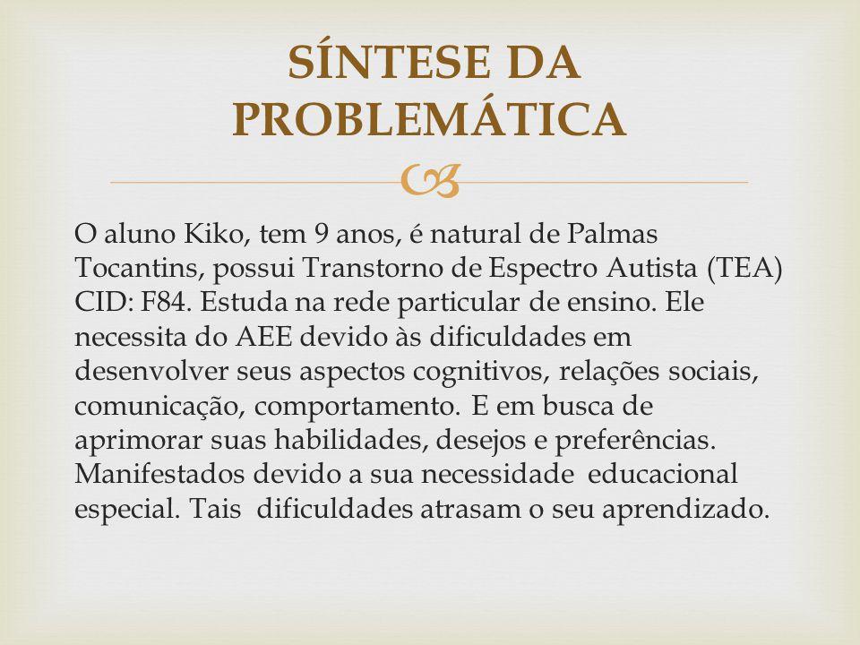  O aluno Kiko, tem 9 anos, é natural de Palmas Tocantins, possui Transtorno de Espectro Autista (TEA) CID: F84. Estuda na rede particular de ensino.