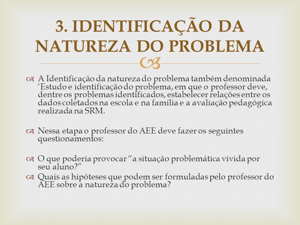   A Identificação da natureza do problema também denominada 'Estudo e identificação do problema, em que o professor deve, dentre os problemas identi