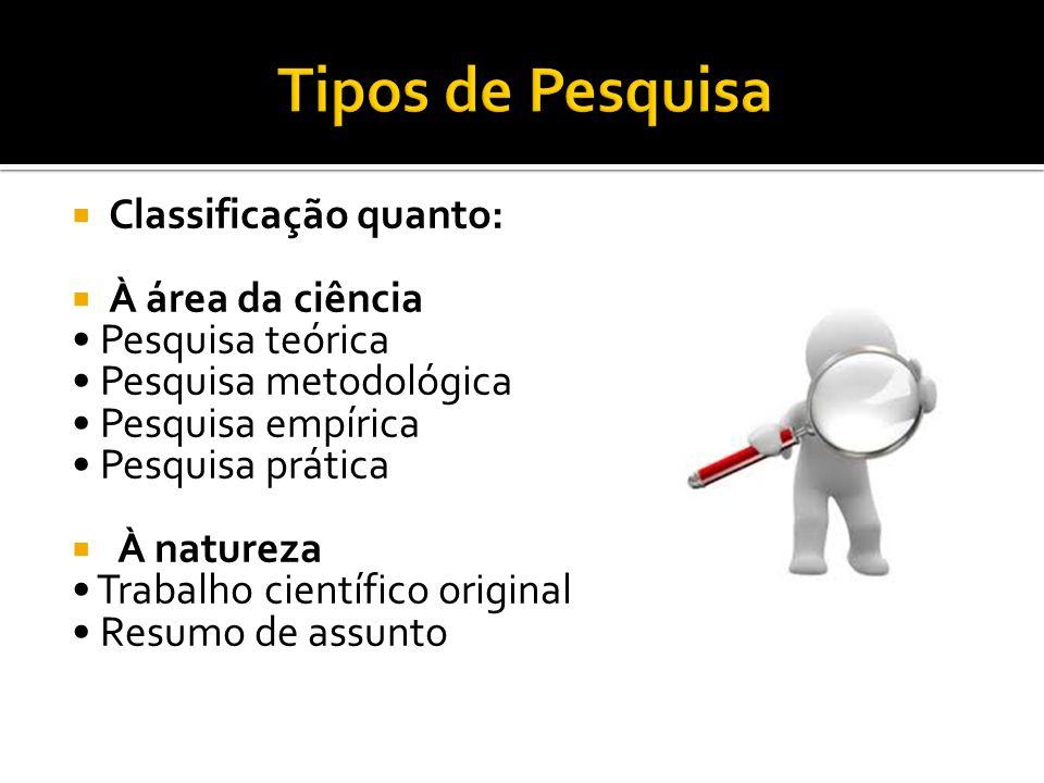  Classificação quanto:  À área da ciência Pesquisa teórica Pesquisa metodológica Pesquisa empírica Pesquisa prática  À natureza Trabalho científico original Resumo de assunto