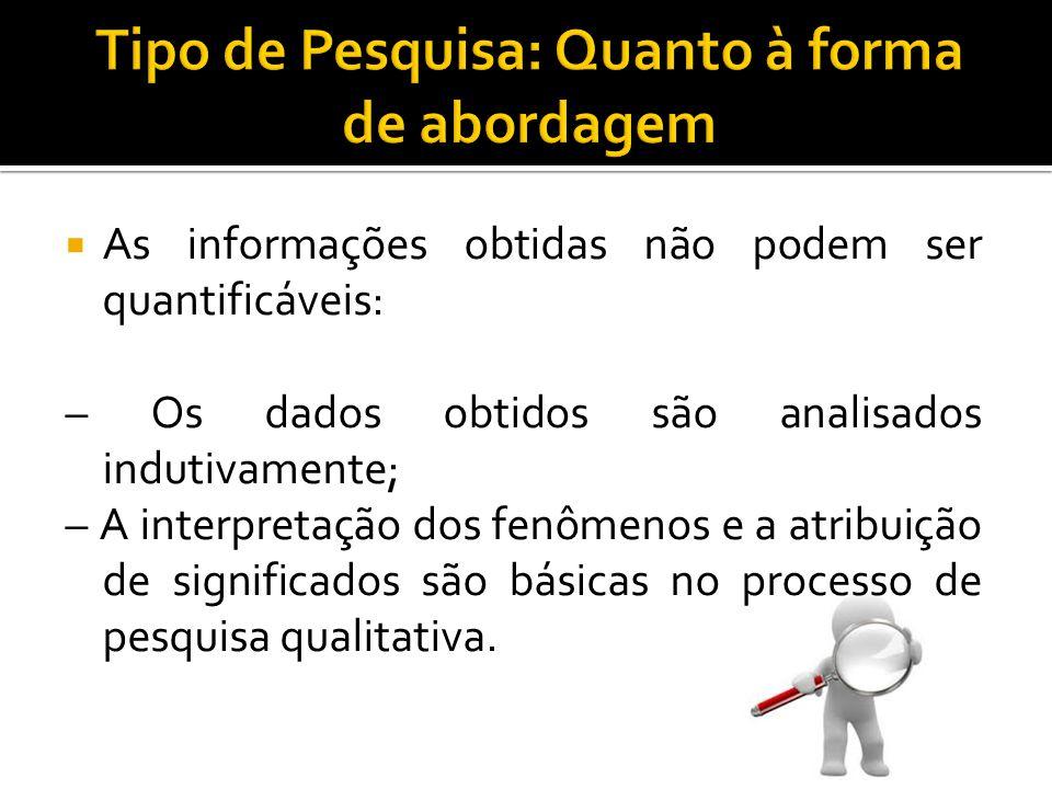  As informações obtidas não podem ser quantificáveis: – Os dados obtidos são analisados indutivamente; – A interpretação dos fenômenos e a atribuição de significados são básicas no processo de pesquisa qualitativa.