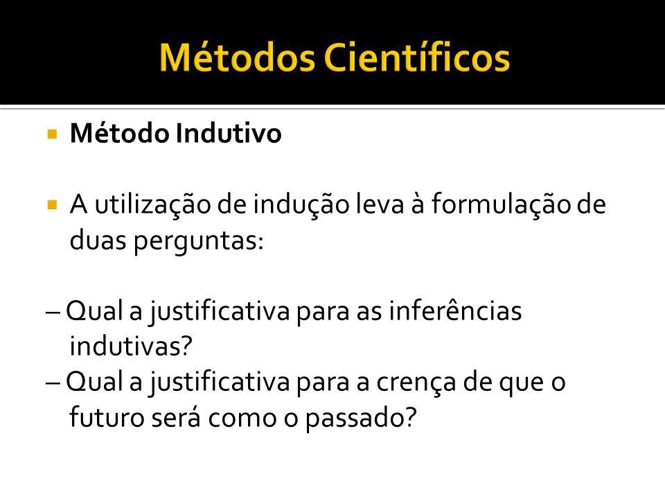  Método Indutivo  A utilização de indução leva à formulação de duas perguntas: – Qual a justificativa para as inferências indutivas.