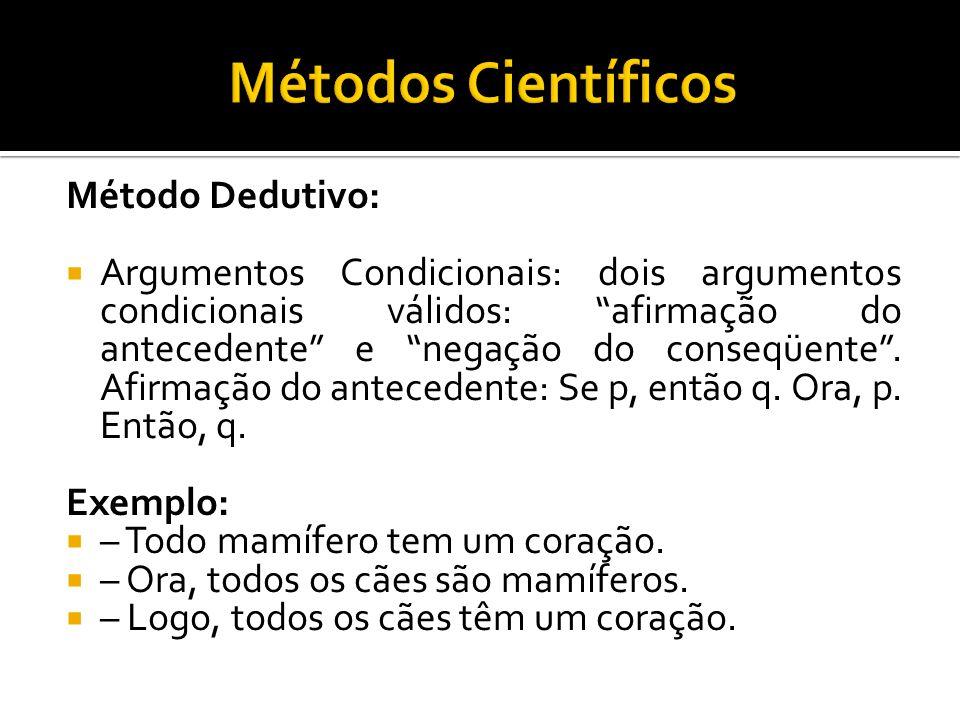 Método Dedutivo:  Argumentos Condicionais: dois argumentos condicionais válidos: afirmação do antecedente e negação do conseqüente .