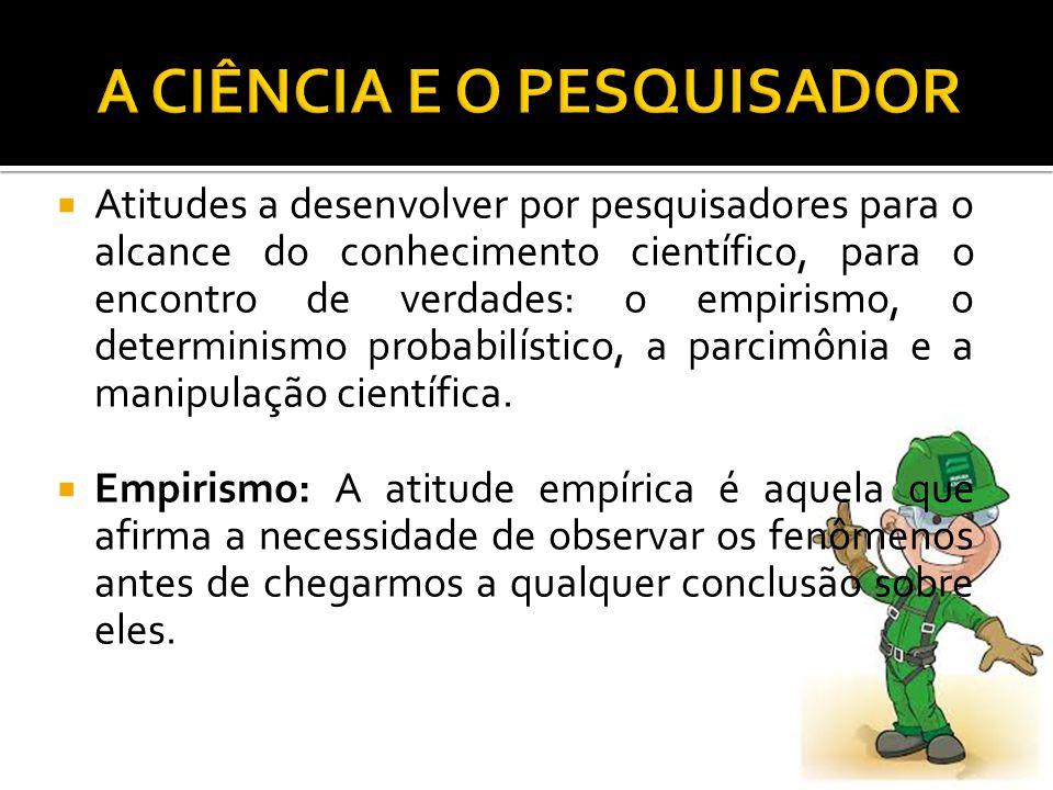  Atitudes a desenvolver por pesquisadores para o alcance do conhecimento científico, para o encontro de verdades: o empirismo, o determinismo probabilístico, a parcimônia e a manipulação científica.