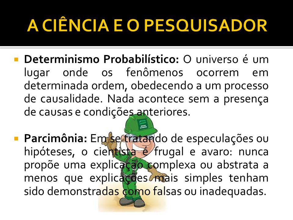  Determinismo Probabilístico: O universo é um lugar onde os fenômenos ocorrem em determinada ordem, obedecendo a um processo de causalidade.