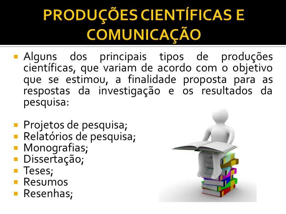  Alguns dos principais tipos de produções científicas, que variam de acordo com o objetivo que se estimou, a finalidade proposta para as respostas da investigação e os resultados da pesquisa:  Projetos de pesquisa;  Relatórios de pesquisa;  Monografias;  Dissertação;  Teses;  Resumos  Resenhas;