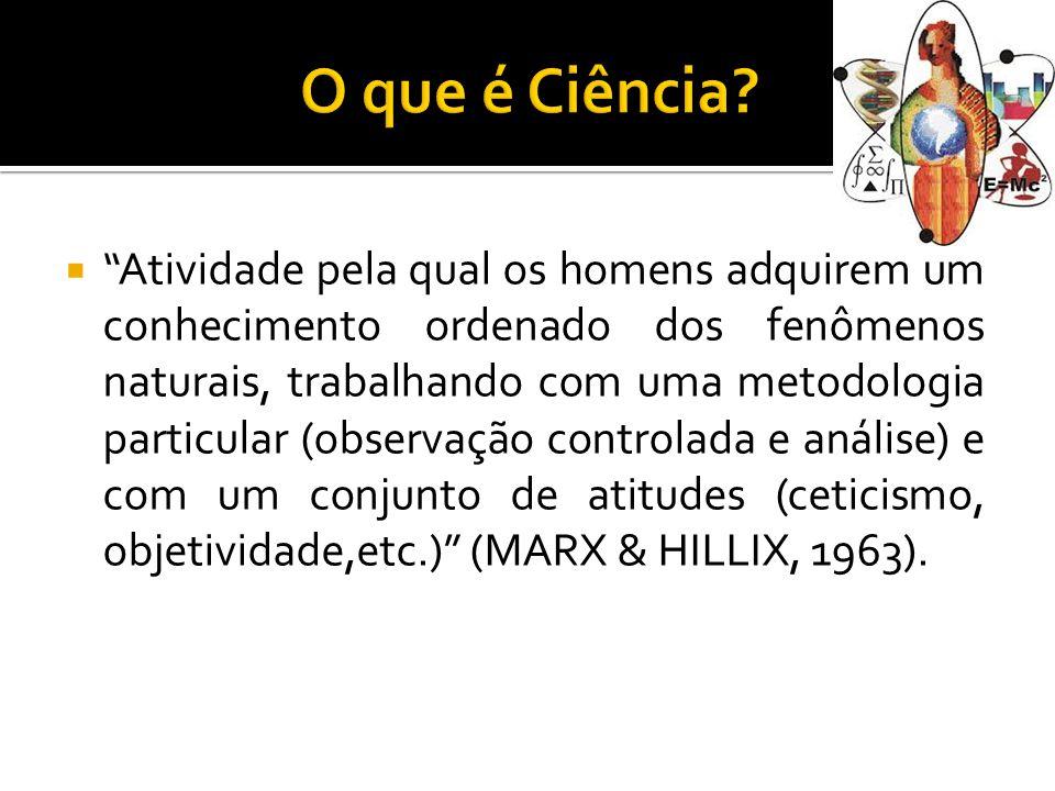  Atividade pela qual os homens adquirem um conhecimento ordenado dos fenômenos naturais, trabalhando com uma metodologia particular (observação controlada e análise) e com um conjunto de atitudes (ceticismo, objetividade,etc.) (MARX & HILLIX, 1963).