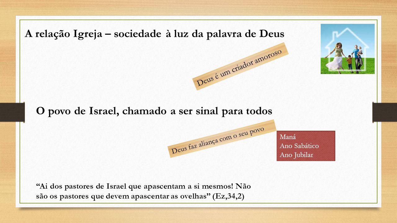 A relação Igreja – sociedade à luz da palavra de Deus Deus é um criador amoroso O povo de Israel, chamado a ser sinal para todos Deus faz aliança com