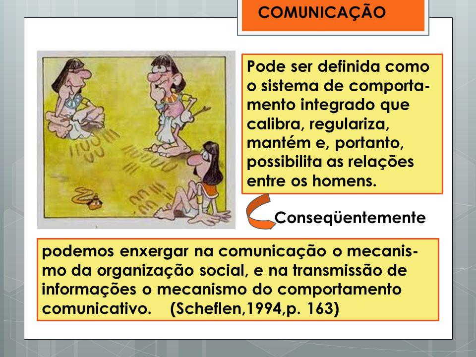 podemos enxergar na comunicação o mecanis- mo da organização social, e na transmissão de informações o mecanismo do comportamento comunicativo. (Schef