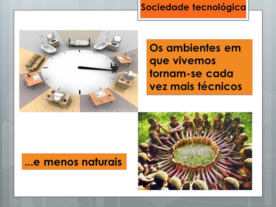 Os ambientes em que vivemos tornam-se cada vez mais técnicos...e menos naturais Sociedade tecnológica