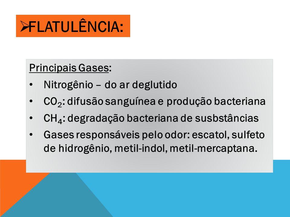  FLATULÊNCIA: Principais Gases: Nitrogênio – do ar deglutido CO 2 : difusão sanguínea e produção bacteriana CH 4 : degradação bacteriana de susbstâncias Gases responsáveis pelo odor: escatol, sulfeto de hidrogênio, metil-indol, metil-mercaptana.