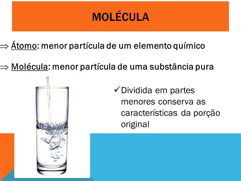 MOLÉCULA  Átomo: menor partícula de um elemento químico  Molécula: menor partícula de uma substância pura Dividida em partes menores conserva as características da porção original
