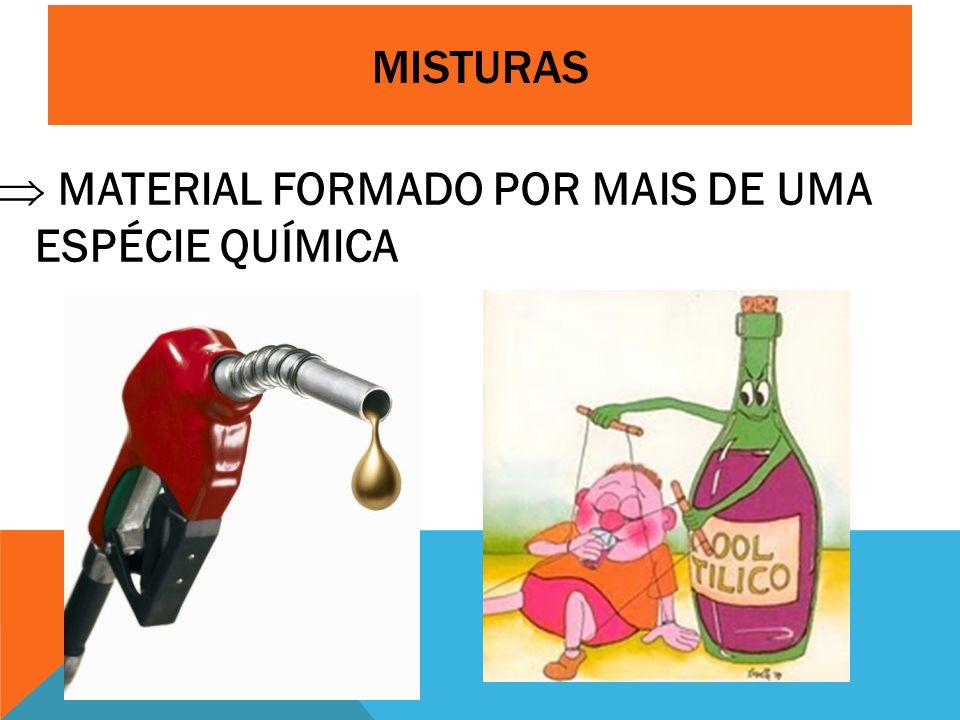 MISTURAS  MATERIAL FORMADO POR MAIS DE UMA ESPÉCIE QUÍMICA