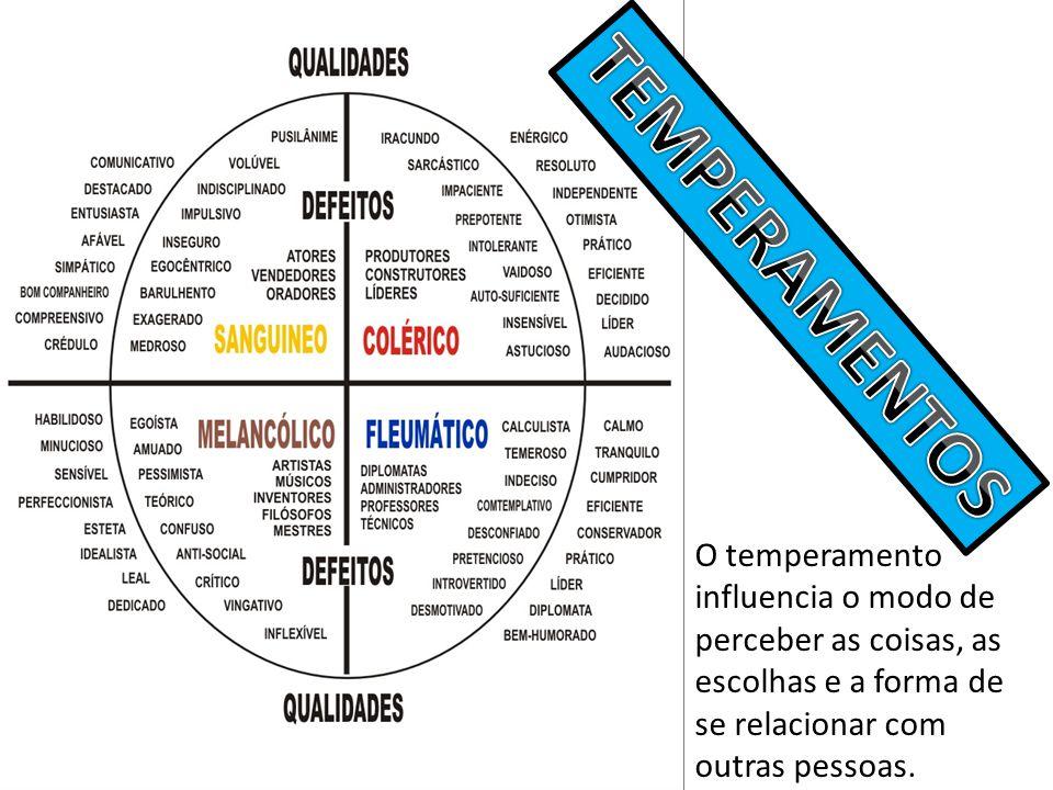 O temperamento influencia o modo de perceber as coisas, as escolhas e a forma de se relacionar com outras pessoas.