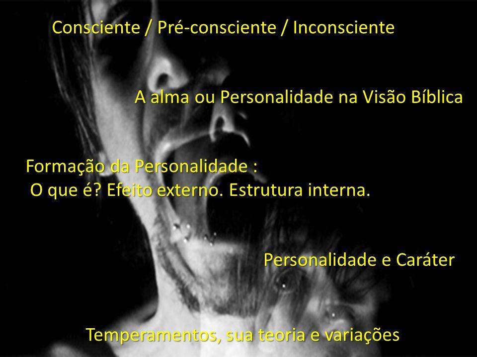 Consciente / Pré-consciente / Inconsciente A alma ou Personalidade na Visão Bíblica Formação da Personalidade : O que é? Efeito externo. Estrutura int