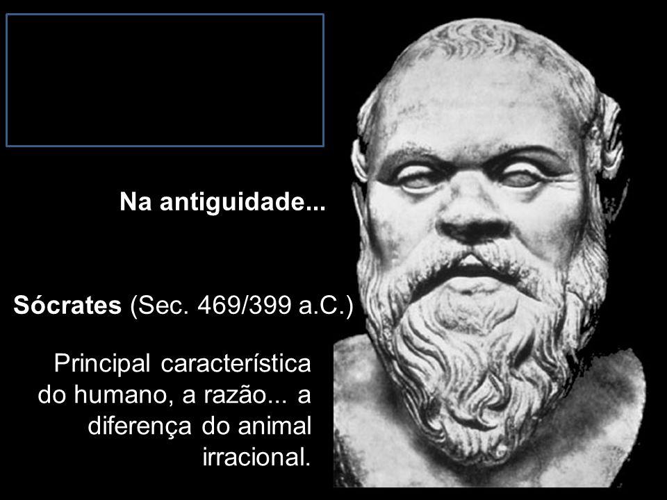 Sócrates (Sec. 469/399 a.C.) Principal característica do humano, a razão... a diferença do animal irracional. Na antiguidade...