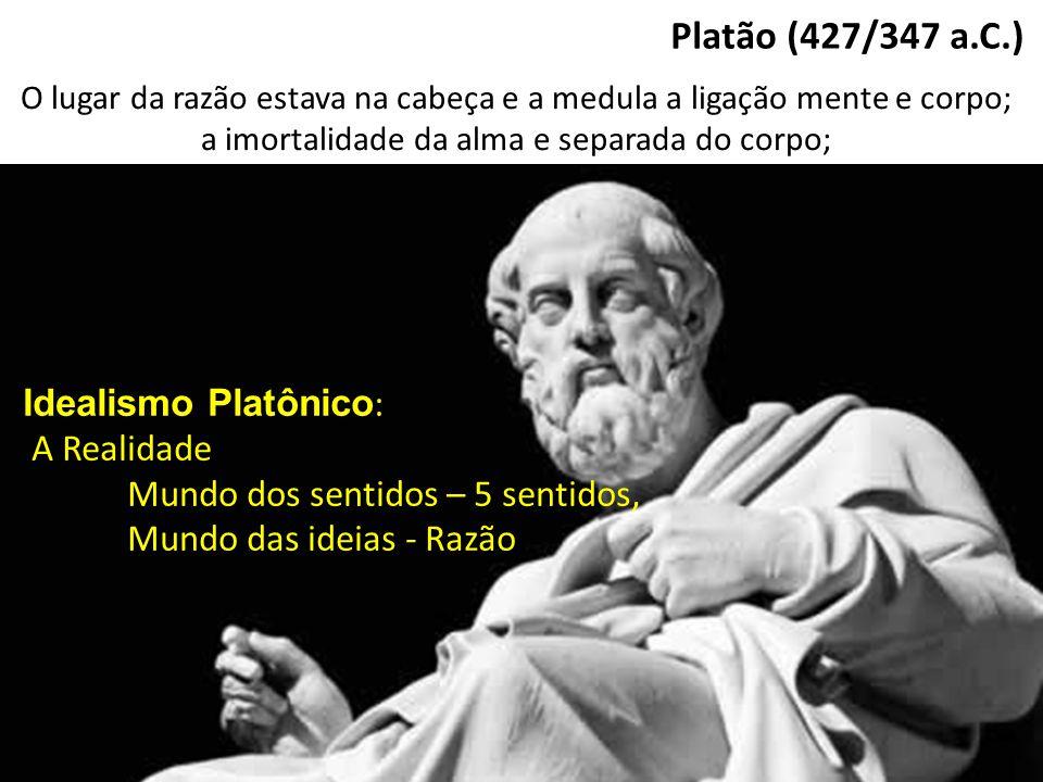 Platão (427/347 a.C.) O lugar da razão estava na cabeça e a medula a ligação mente e corpo; a imortalidade da alma e separada do corpo; Idealismo Plat