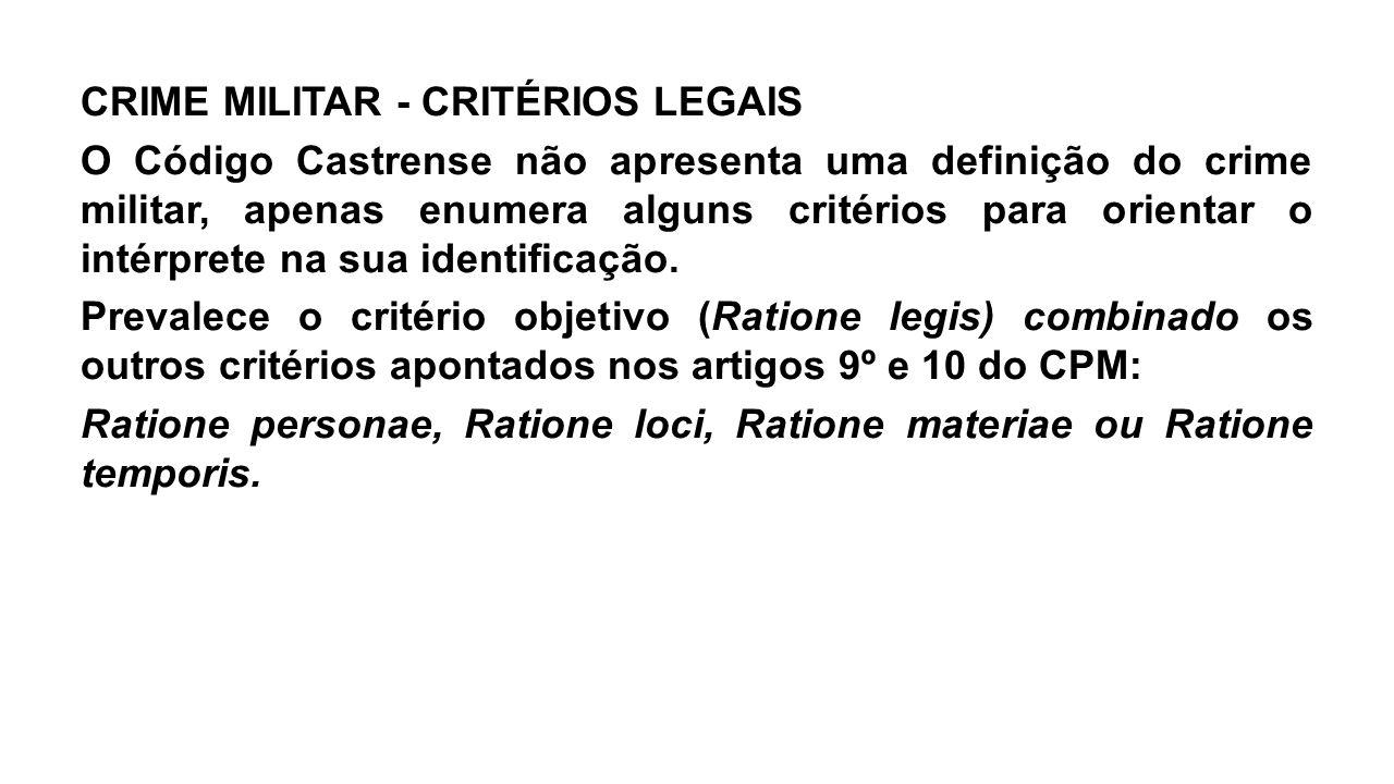 CRIME MILITAR - CRITÉRIOS LEGAIS O Código Castrense não apresenta uma definição do crime militar, apenas enumera alguns critérios para orientar o inté