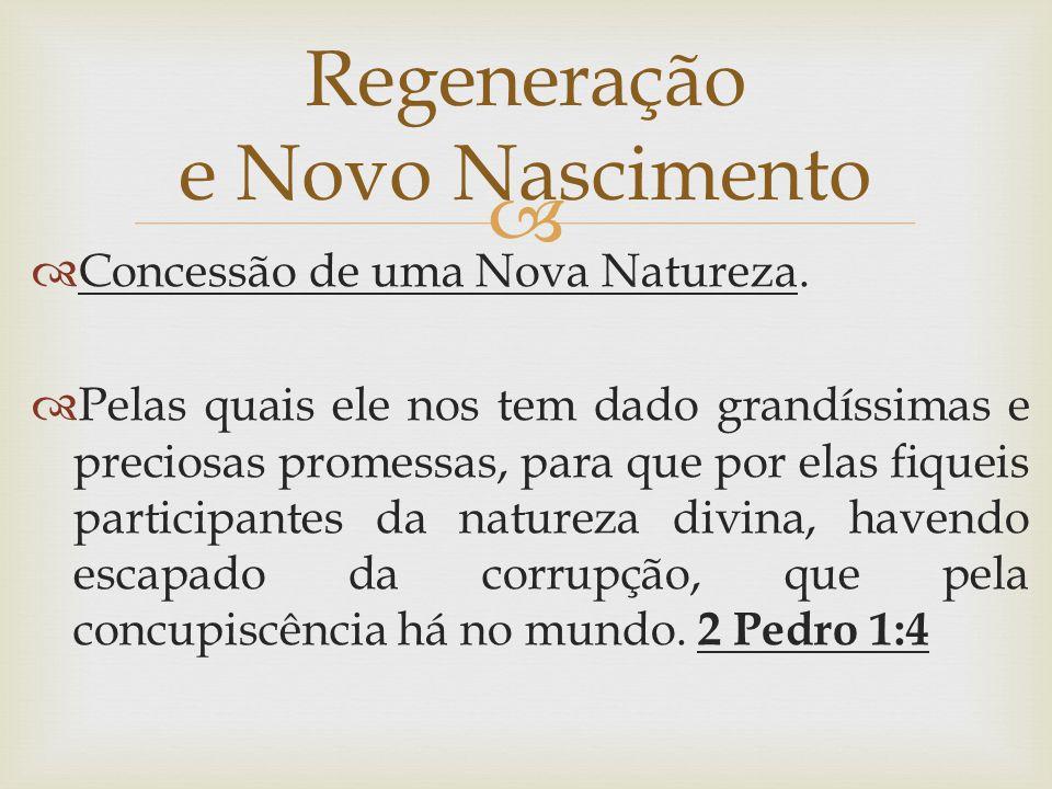   Concessão de uma Nova Natureza.  Pelas quais ele nos tem dado grandíssimas e preciosas promessas, para que por elas fiqueis participantes da natu