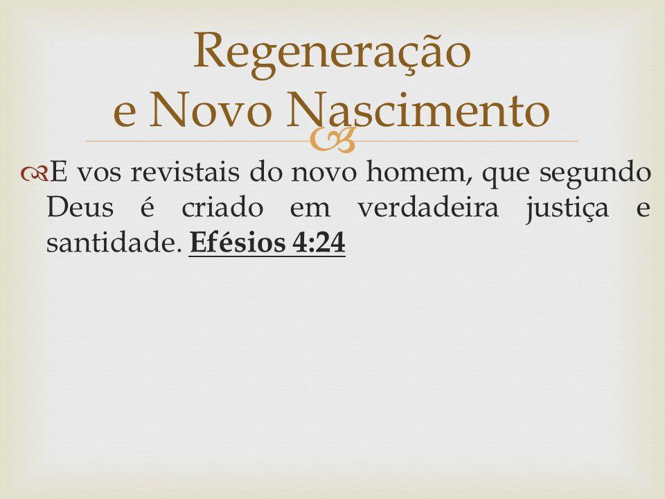   E vos revistais do novo homem, que segundo Deus é criado em verdadeira justiça e santidade. Efésios 4:24 Regeneração e Novo Nascimento