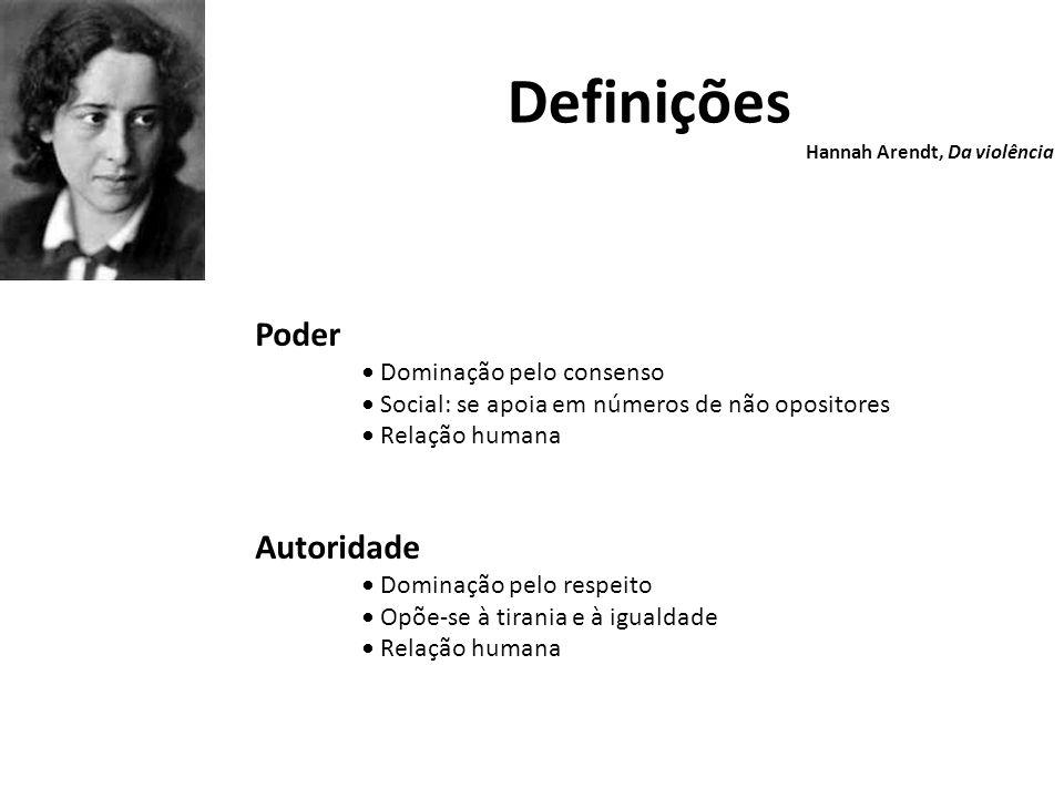 Definições Hannah Arendt, Da violência Poder Dominação pelo consenso Social: se apoia em números de não opositores Relação humana Autoridade Dominação pelo respeito Opõe-se à tirania e à igualdade Relação humana