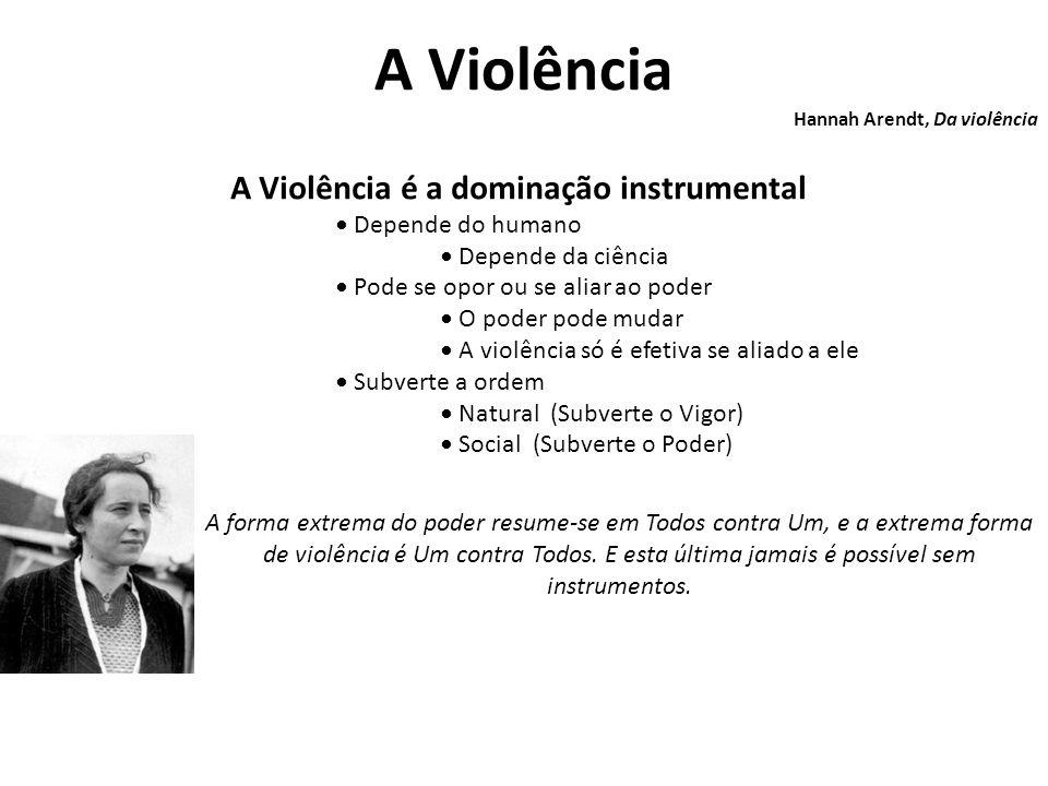 A Violência Hannah Arendt, Da violência A Violência é a dominação instrumental Depende do humano Depende da ciência Pode se opor ou se aliar ao poder