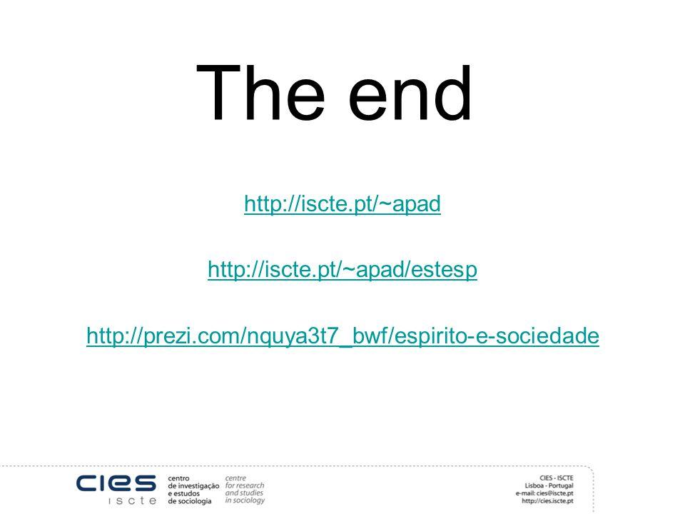 The end http://iscte.pt/~apad http://iscte.pt/~apad/estesp http://prezi.com/nquya3t7_bwf/espirito-e-sociedade