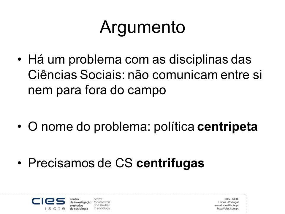 Argumento Há um problema com as disciplinas das Ciências Sociais: não comunicam entre si nem para fora do campo O nome do problema: política centripeta Precisamos de CS centrifugas