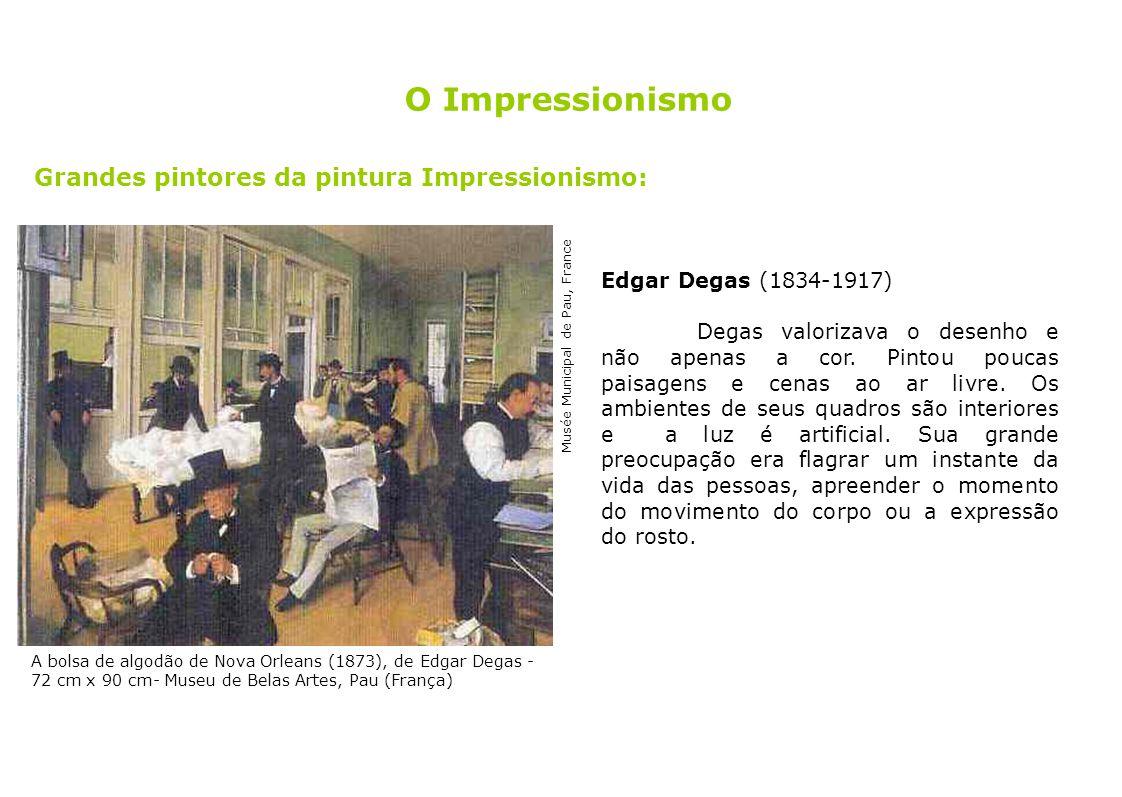 11 Grandes pintores da pintura Impressionismo: Edgar Degas (1834-1917) Degas valorizava o desenho e não apenas a cor. Pintou poucas paisagens e cenas