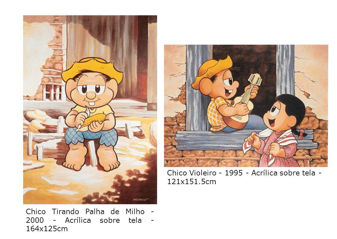 18 Chico Tirando Palha de Milho - 2000 - Acrílica sobre tela - 164x125cm Chico Violeiro - 1995 - Acrílica sobre tela - 121x151.5cm