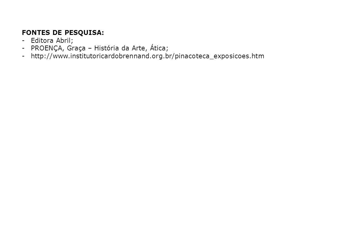 20 FONTES DE PESQUISA: -Editora Abril; -PROENÇA, Graça – História da Arte, Ática; -http://www.institutoricardobrennand.org.br/pinacoteca_exposicoes.ht