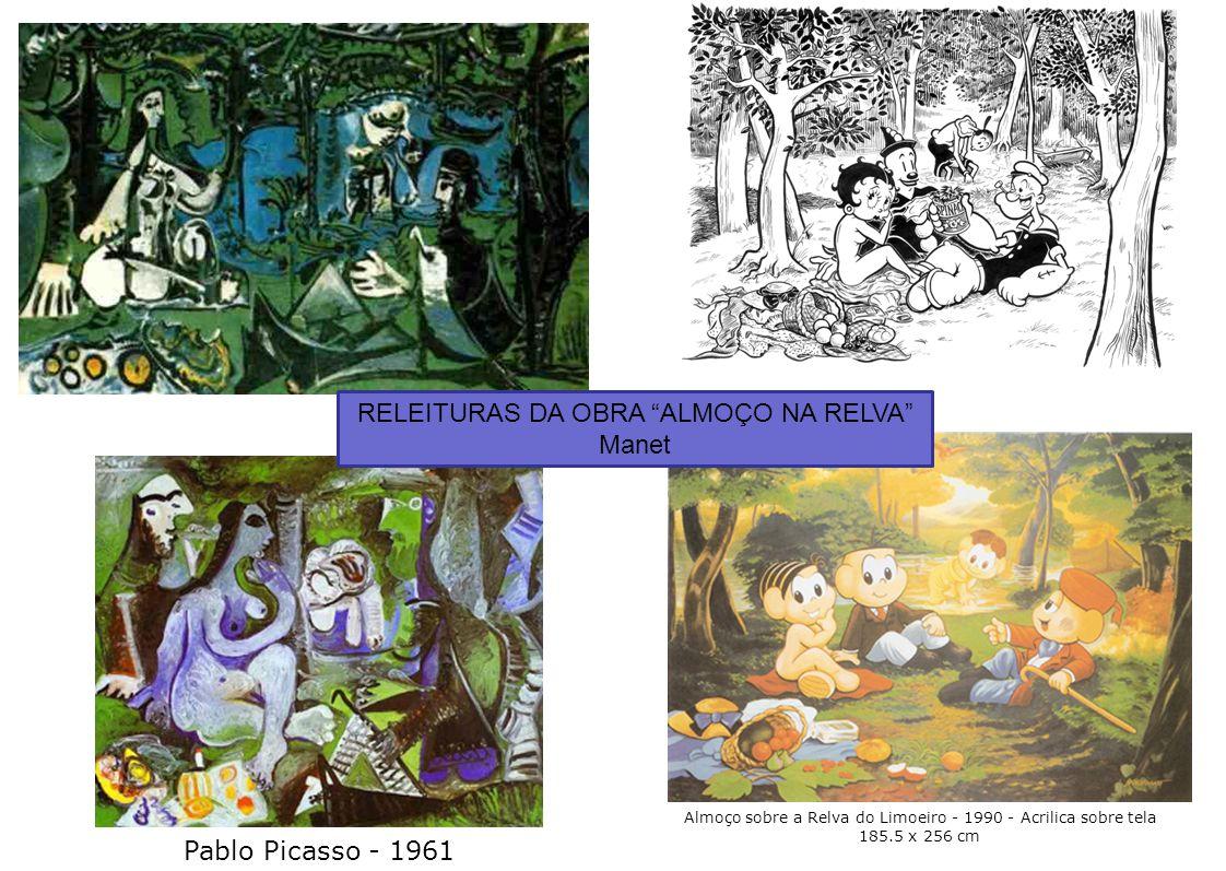 """5 Almoço sobre a Relva do Limoeiro - 1990 - Acrilica sobre tela 185.5 x 256 cm Pablo Picasso - 1961 RELEITURAS DA OBRA """"ALMOÇO NA RELVA"""" Manet"""