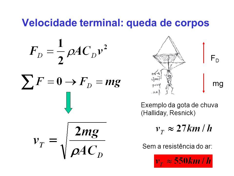 Velocidade terminal: queda de corpos mg FDFD Exemplo da gota de chuva (Halliday, Resnick) Sem a resistência do ar: