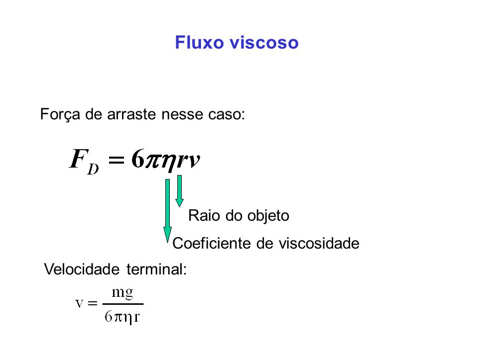 Fluxo viscoso Força de arraste nesse caso: Raio do objeto Coeficiente de viscosidade Velocidade terminal: