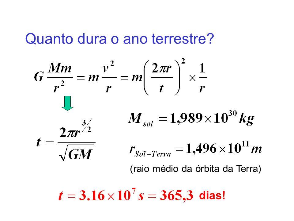 Quanto dura o ano terrestre? (raio médio da órbita da Terra) dias!