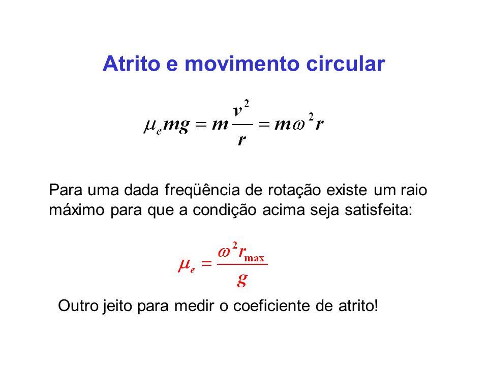 Atrito e movimento circular Para uma dada freqüência de rotação existe um raio máximo para que a condição acima seja satisfeita: Outro jeito para medir o coeficiente de atrito!