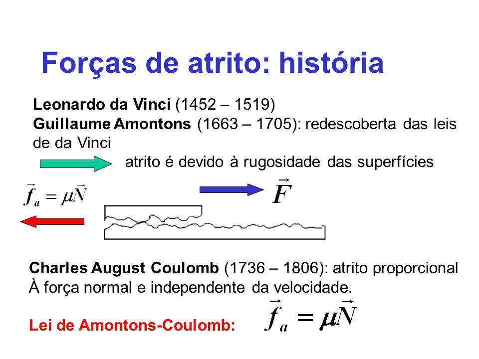 Forças de atrito: história Leonardo da Vinci (1452 – 1519) Guillaume Amontons (1663 – 1705): redescoberta das leis de da Vinci atrito é devido à rugosidade das superfícies Charles August Coulomb (1736 – 1806): atrito proporcional À força normal e independente da velocidade.