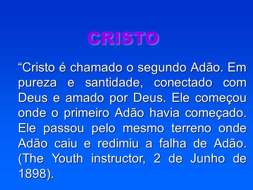 """CRISTO """"Cristo é chamado o segundo Adão. Em pureza e santidade, conectado com Deus e amado por Deus. Ele começou onde o primeiro Adão havia começado."""