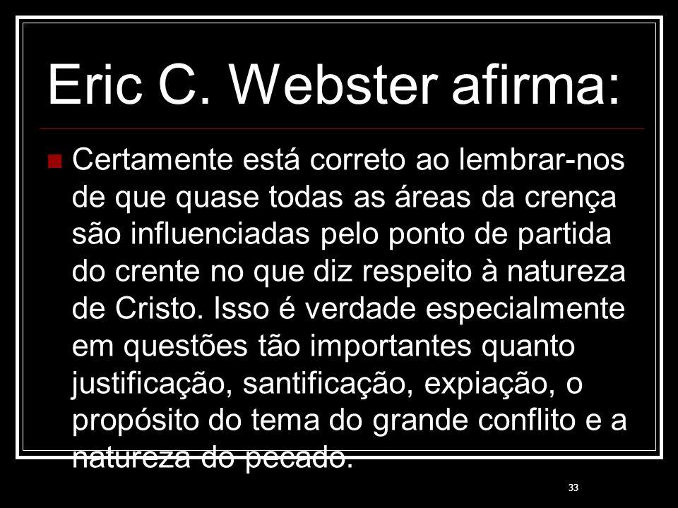 33 Eric C. Webster afirma: Certamente está correto ao lembrar-nos de que quase todas as áreas da crença são influenciadas pelo ponto de partida do cre
