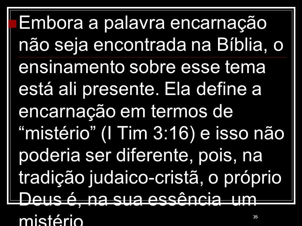 """35 Embora a palavra encarnação não seja encontrada na Bíblia, o ensinamento sobre esse tema está ali presente. Ela define a encarnação em termos de """"m"""