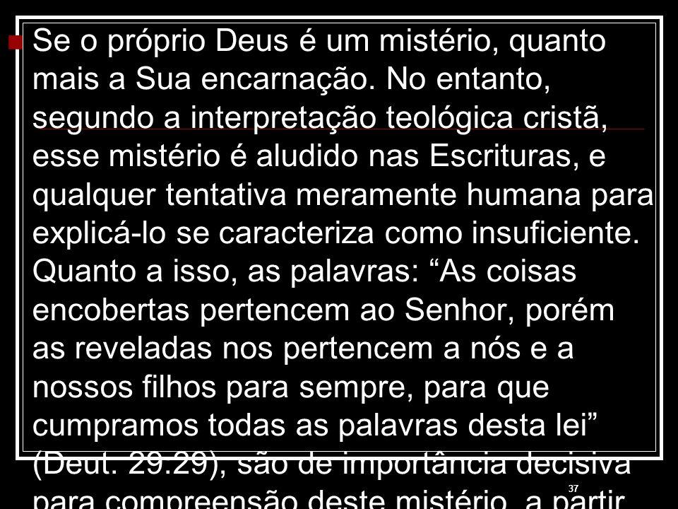 37 Se o próprio Deus é um mistério, quanto mais a Sua encarnação. No entanto, segundo a interpretação teológica cristã, esse mistério é aludido nas Es