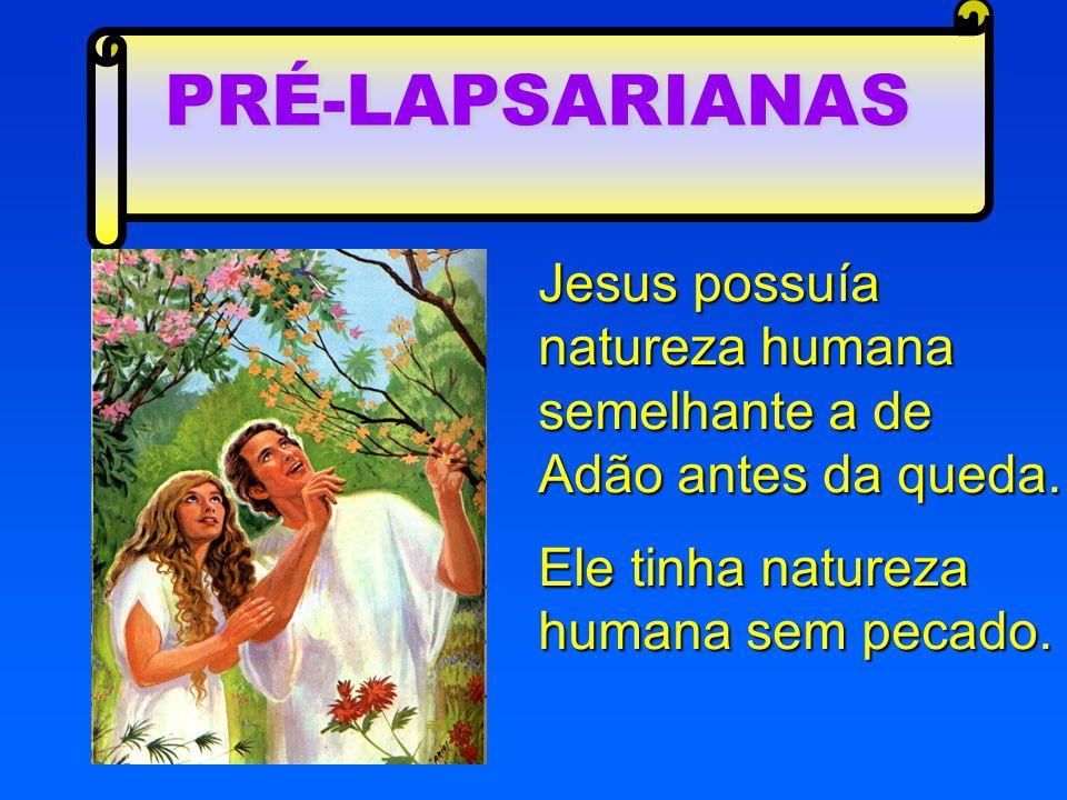 Jesus possuía natureza humana semelhante a de Adão antes da queda. Ele tinha natureza humana sem pecado. PRÉ-LAPSARIANAS