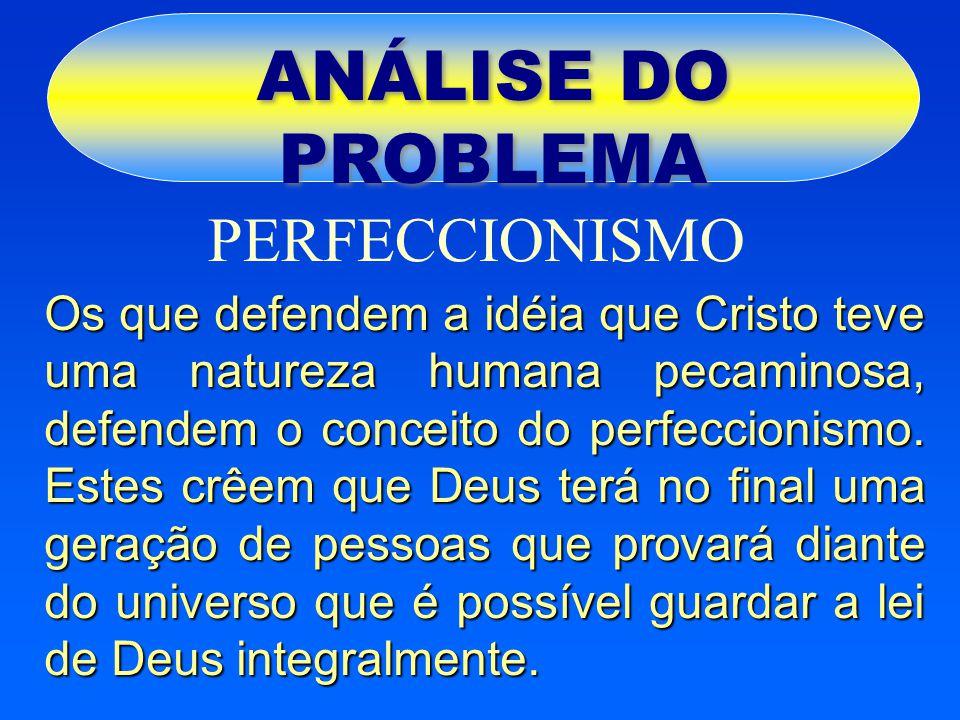 ANÁLISE DO PROBLEMA PERFECCIONISMO Os que defendem a idéia que Cristo teve uma natureza humana pecaminosa, defendem o conceito do perfeccionismo. Este