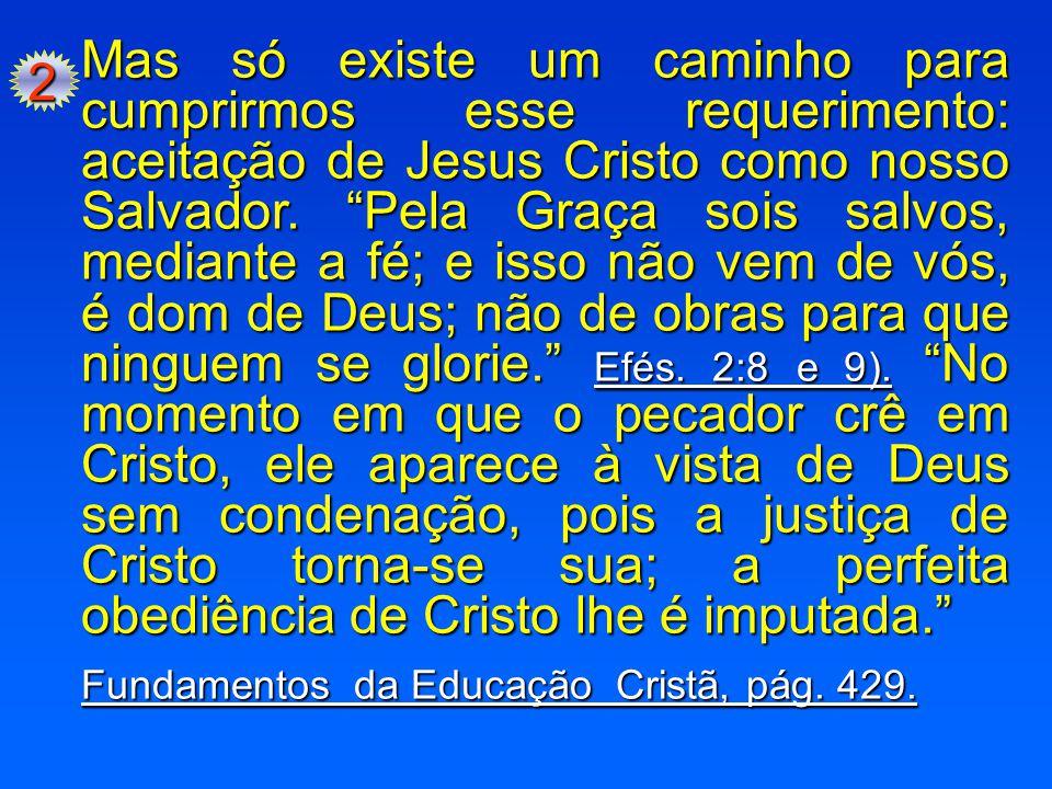 """2 Mas só existe um caminho para cumprirmos esse requerimento: aceitação de Jesus Cristo como nosso Salvador. """"Pela Graça sois salvos, mediante a fé; e"""