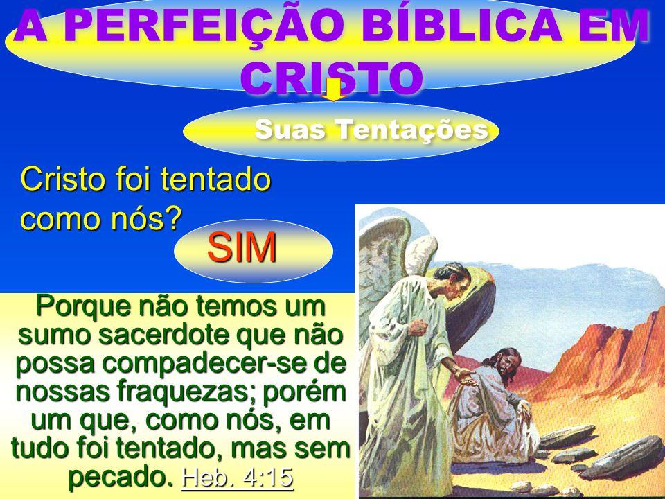 A PERFEIÇÃO BÍBLICA EM CRISTO Suas Tentações Cristo foi tentado como nós? SIM Porque não temos um sumo sacerdote que não possa compadecer-se de nossas