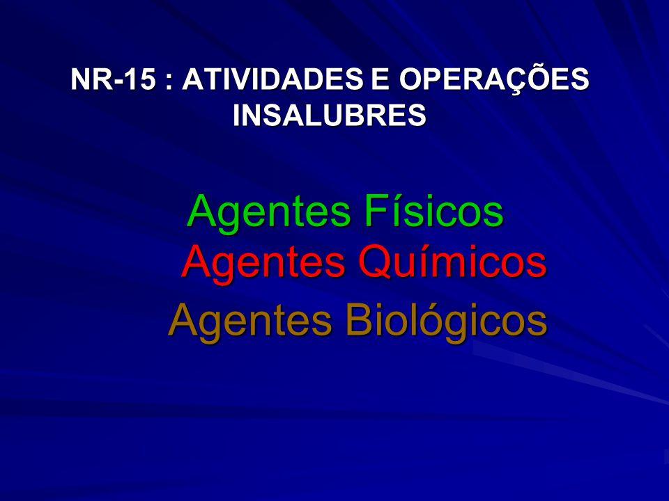 NR-15 : ATIVIDADES E OPERAÇÕES INSALUBRES Agentes Químicos Agentes Químicos Agentes Biológicos Agentes Físicos