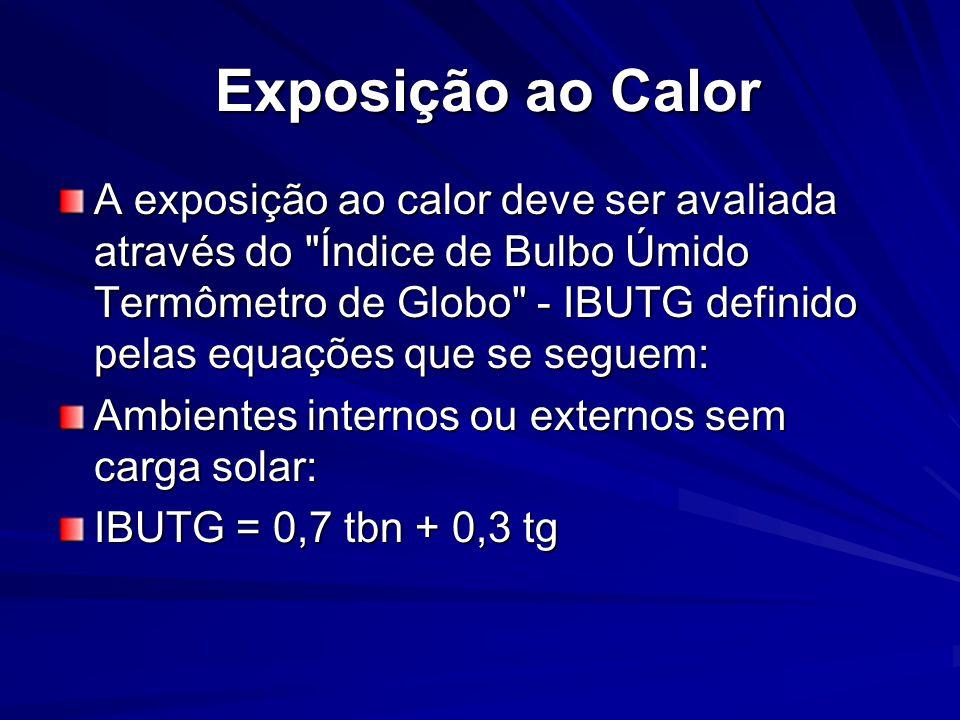 Exposição ao Calor Exposição ao Calor A exposição ao calor deve ser avaliada através do Índice de Bulbo Úmido Termômetro de Globo - IBUTG definido pelas equações que se seguem: Ambientes internos ou externos sem carga solar: IBUTG = 0,7 tbn + 0,3 tg